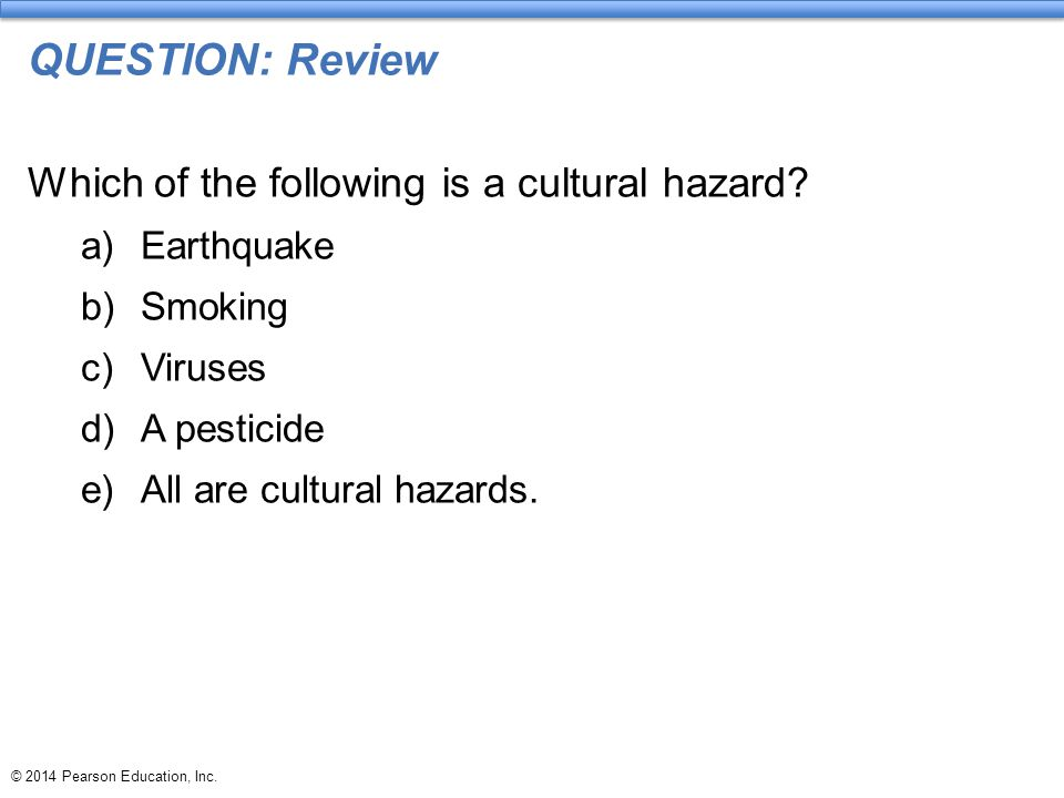 QUESTION: Review Which of the following is a cultural hazard