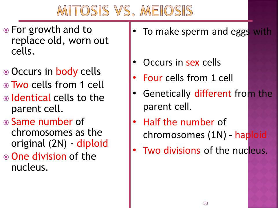 Mitosis vs. Meiosis To make sperm and eggs with Occurs in sex cells