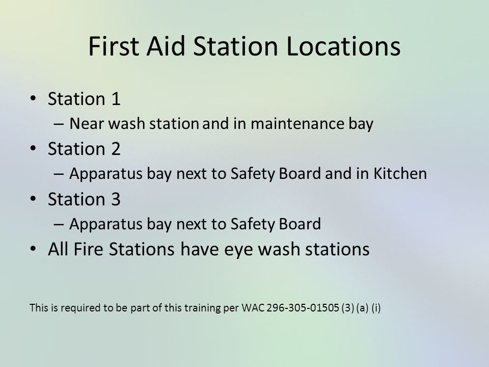 First Aid Station Locations