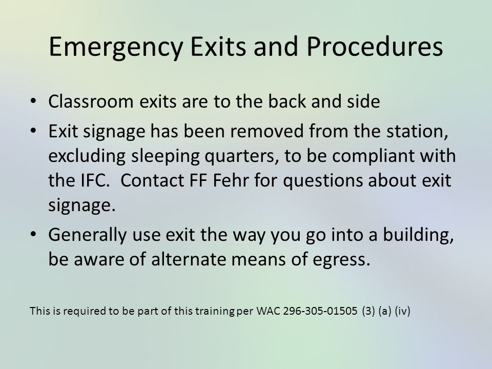 Emergency Exits and Procedures