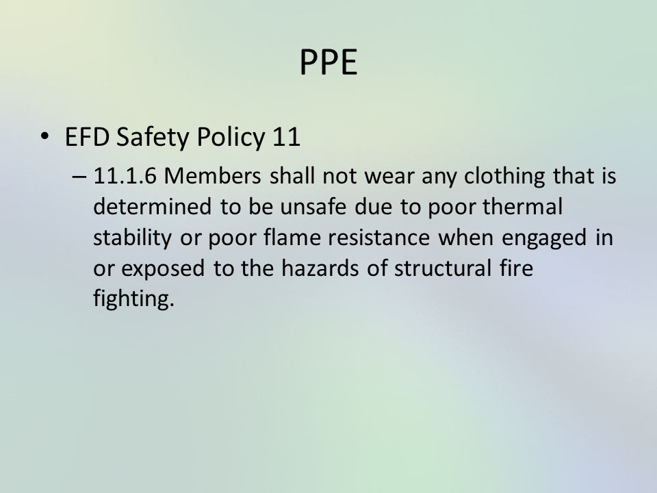 PPE EFD Safety Policy 11.