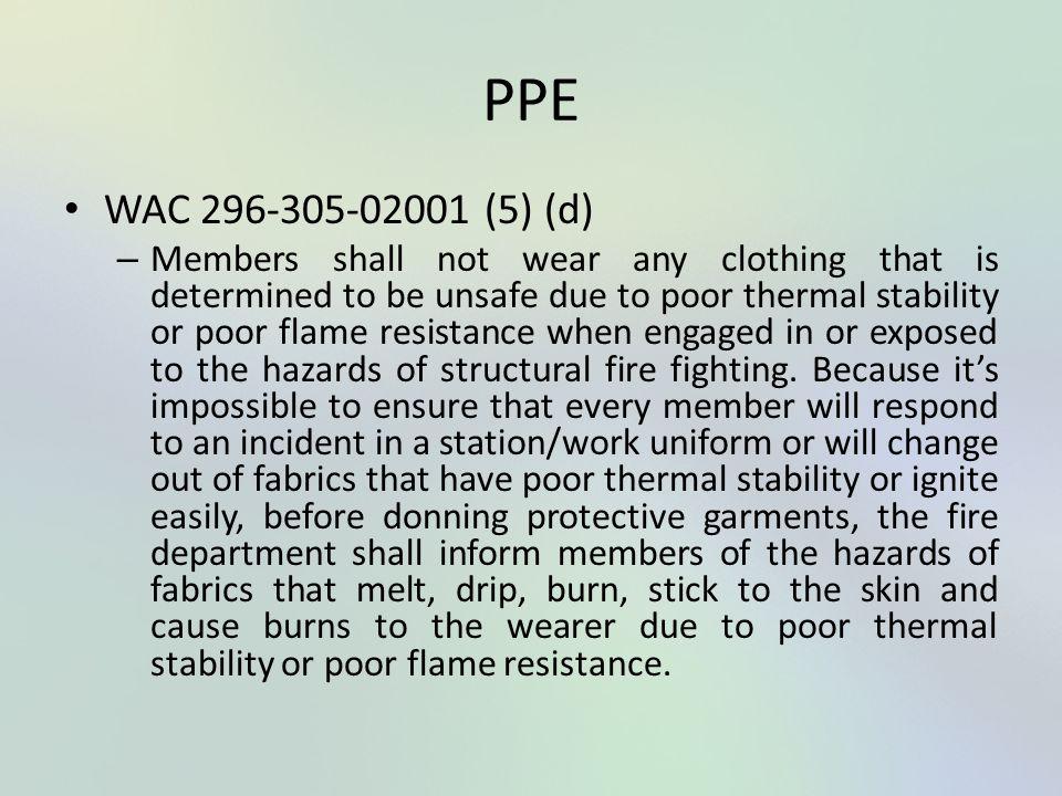 PPE WAC 296-305-02001 (5) (d)