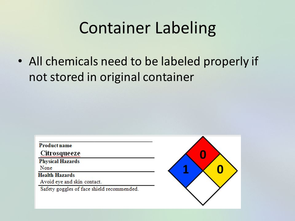 Container Labeling All chemicals need to be labeled properly if not stored in original container 1