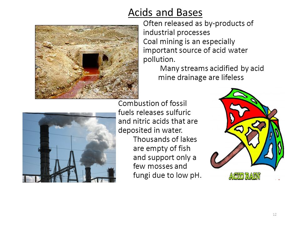 Acids and Bases Often released as by-products of industrial processes