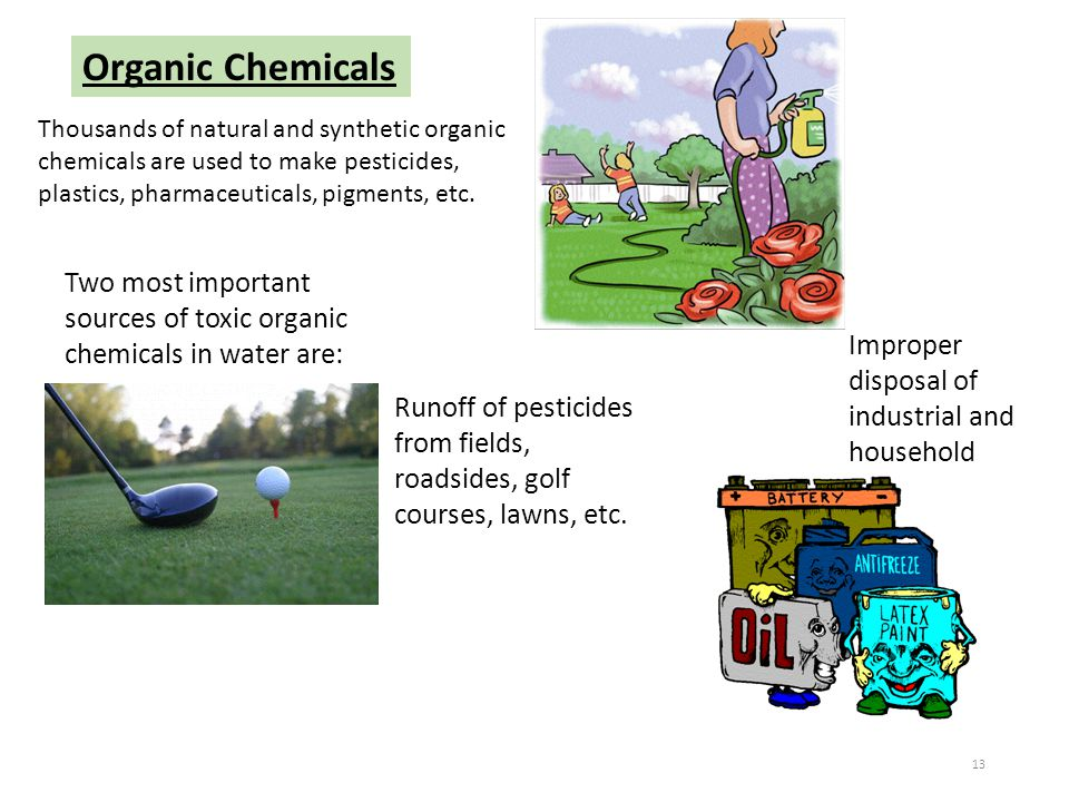 Organic Chemicals Thousands of natural and synthetic organic chemicals are used to make pesticides, plastics, pharmaceuticals, pigments, etc.