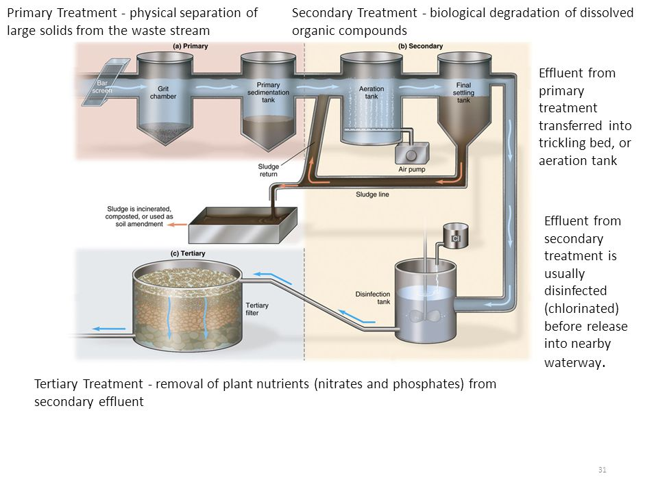 Primary Treatment - physical separation of large solids from the waste stream