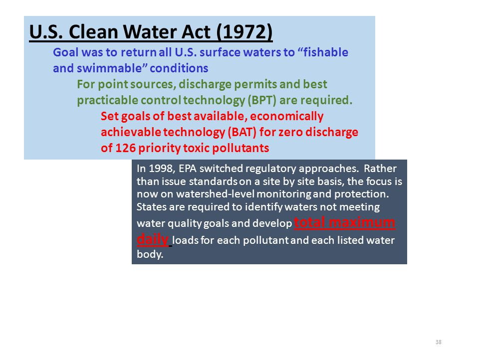 U.S. Clean Water Act (1972) Goal was to return all U.S. surface waters to fishable and swimmable conditions.