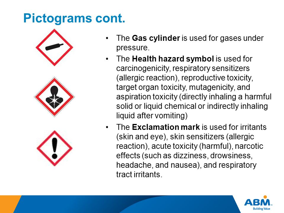 Pictograms cont. The Gas cylinder is used for gases under pressure.