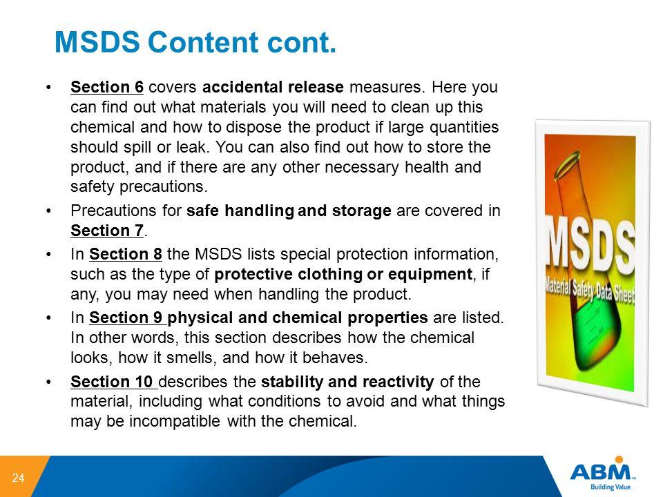 MSDS Content cont.