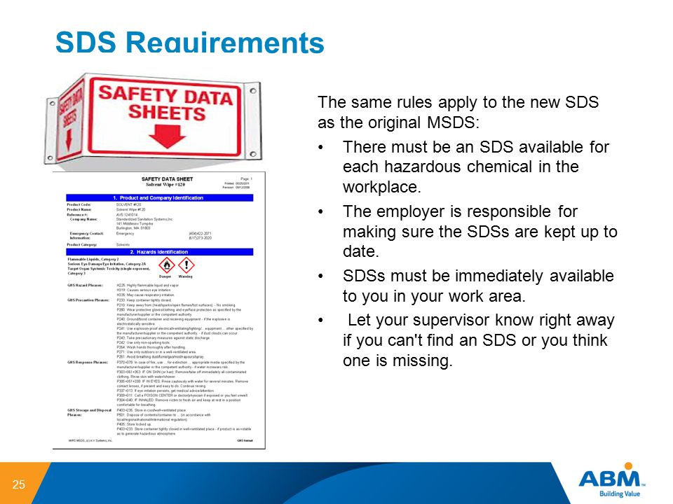 SDS Requirements The same rules apply to the new SDS as the original MSDS: