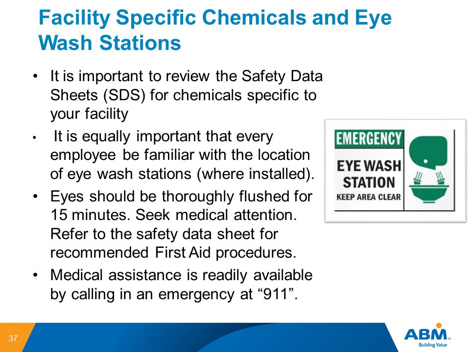 Facility Specific Chemicals and Eye Wash Stations