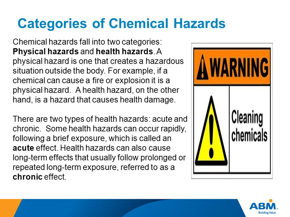Categories of Chemical Hazards