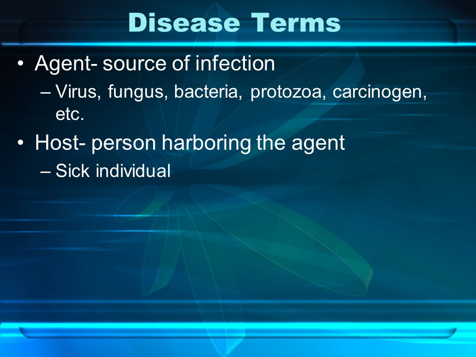 Disease Terms Agent- source of infection