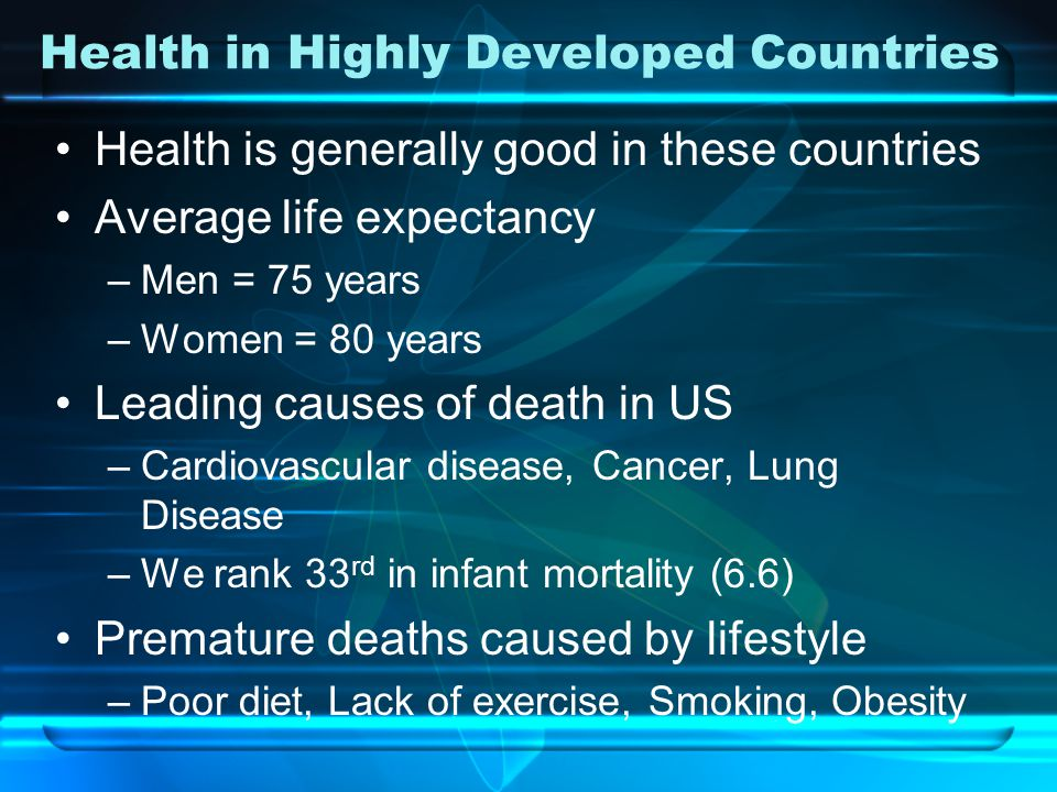 Health in Highly Developed Countries