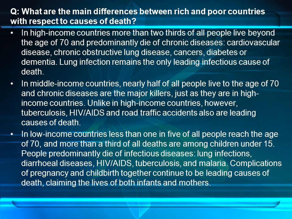 Q: What are the main differences between rich and poor countries with respect to causes of death