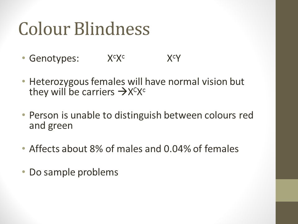 Colour Blindness Genotypes: XcXc XcY