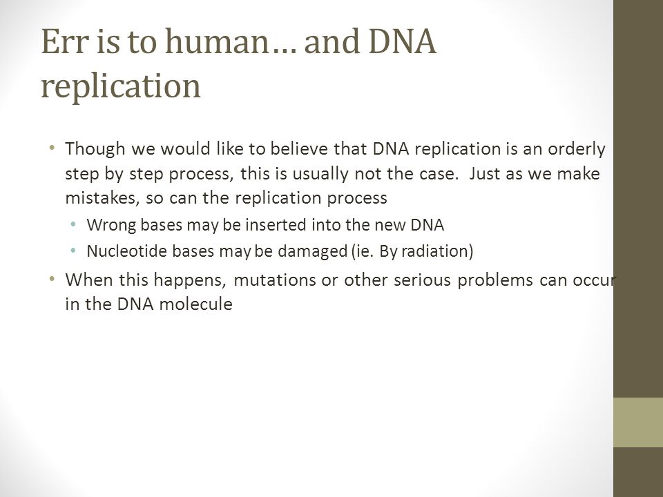 Err is to human… and DNA replication