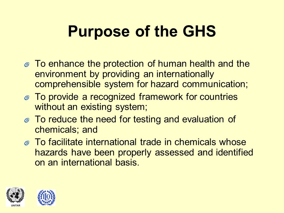 Purpose of the GHS