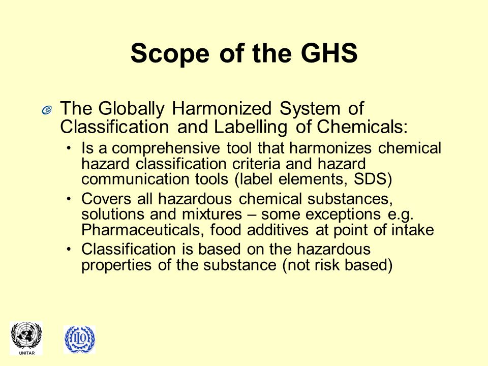 Scope of the GHS The Globally Harmonized System of Classification and Labelling of Chemicals: