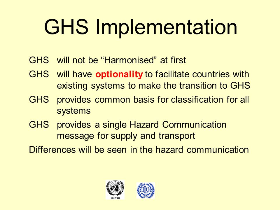 GHS Implementation GHS will not be Harmonised at first