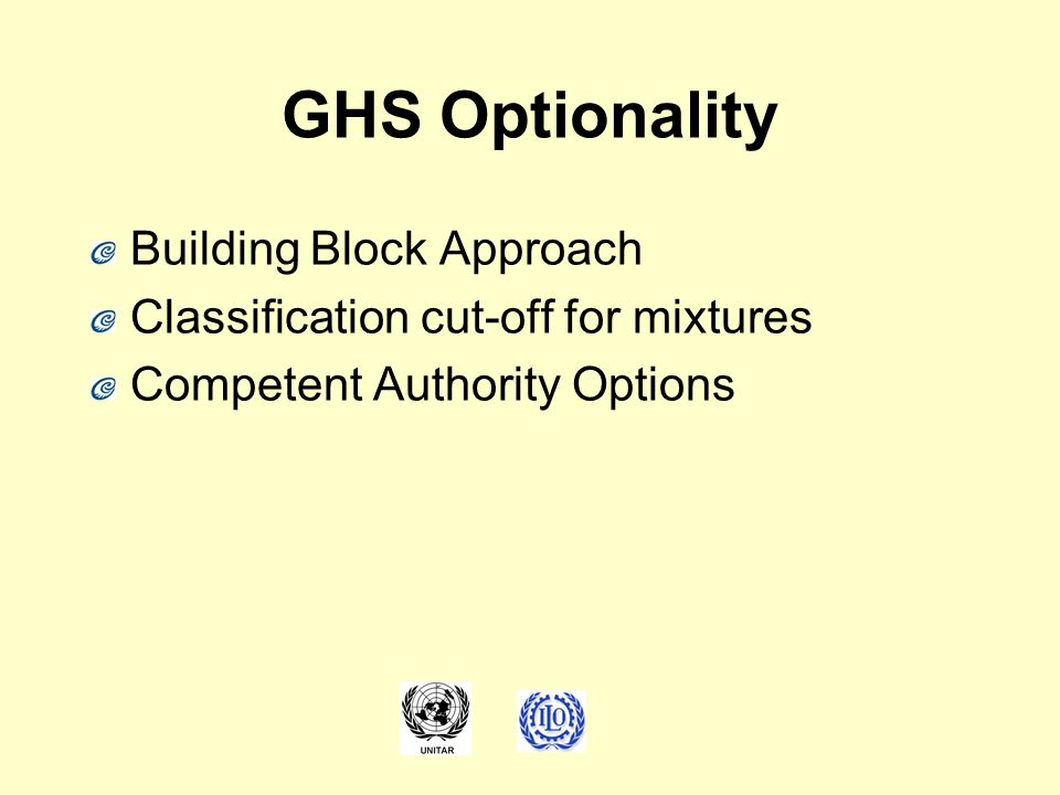 GHS Optionality Building Block Approach