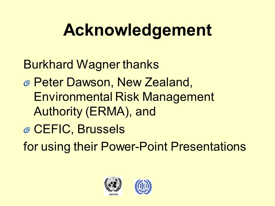 Acknowledgement Burkhard Wagner thanks