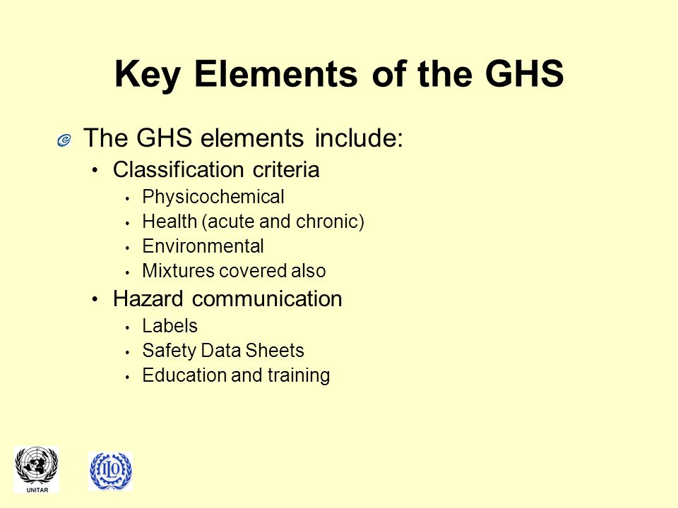 Key Elements of the GHS The GHS elements include: