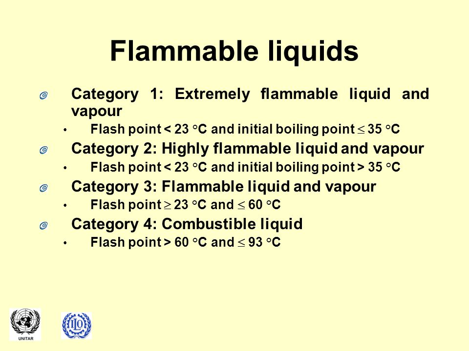 Flammable liquids Category 1: Extremely flammable liquid and vapour