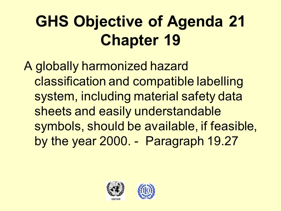 GHS Objective of Agenda 21 Chapter 19
