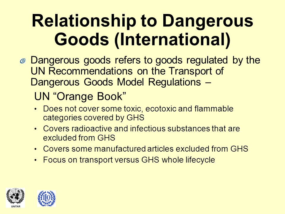 Relationship to Dangerous Goods (International)