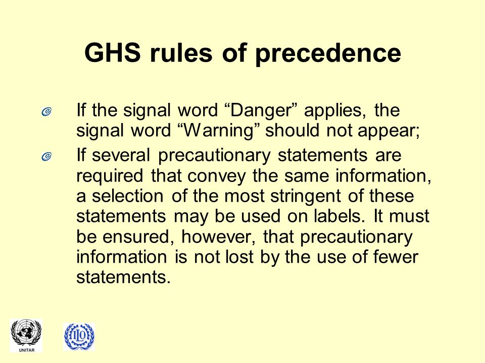 GHS rules of precedence