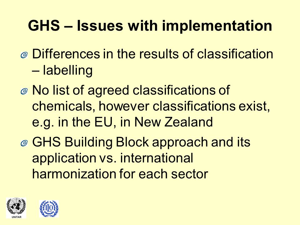 GHS – Issues with implementation