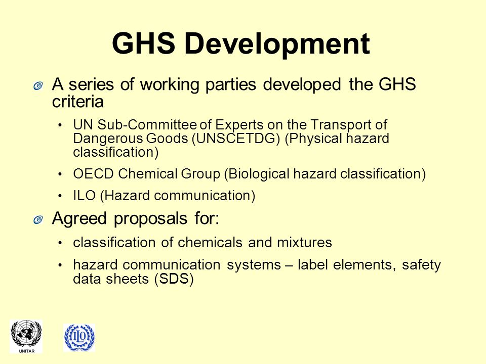 GHS Development A series of working parties developed the GHS criteria