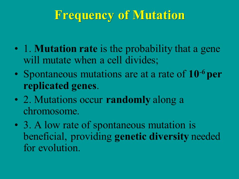 Frequency of Mutation 1. Mutation rate is the probability that a gene will mutate when a cell divides;