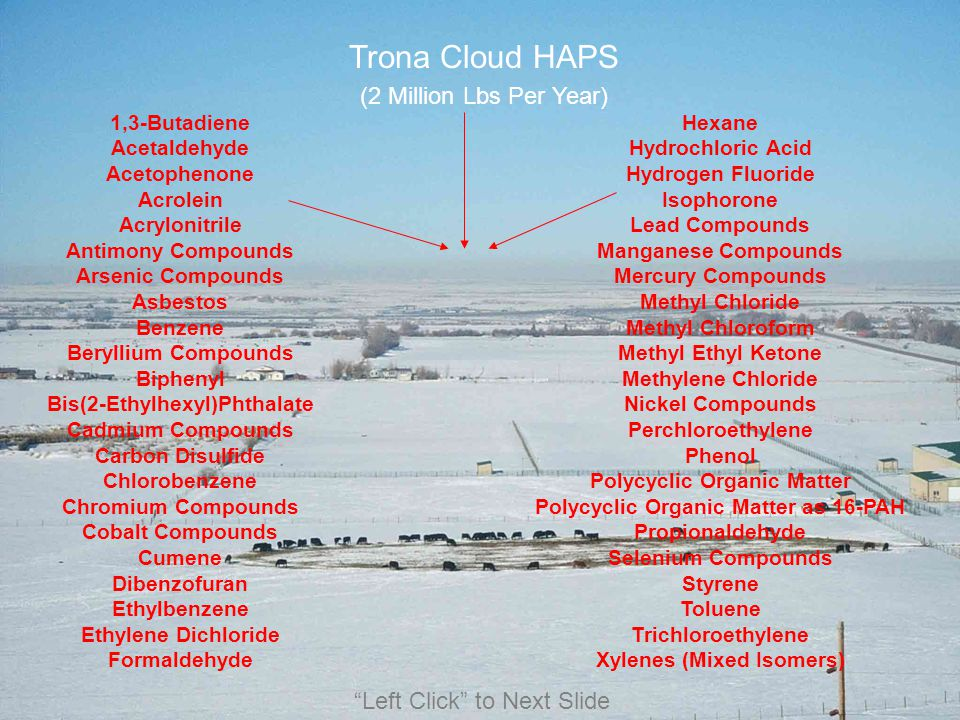 Trona Cloud HAPS (2 Million Lbs Per Year) Left Click to Next Slide