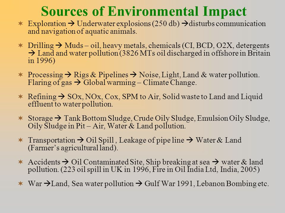 Sources of Environmental Impact