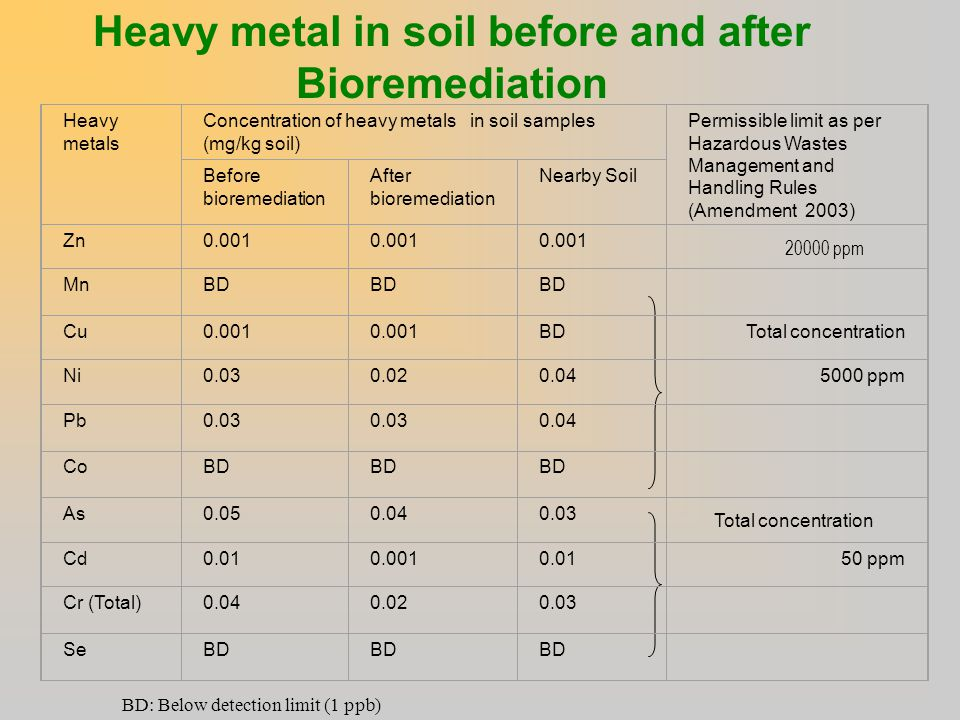 Heavy metal in soil before and after Bioremediation