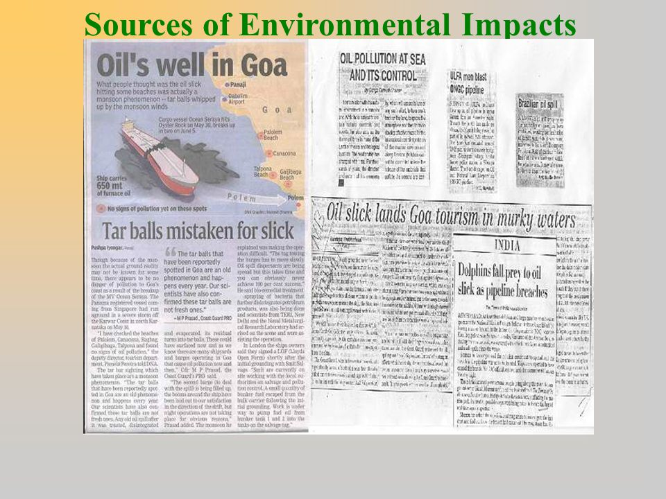 Sources of Environmental Impacts