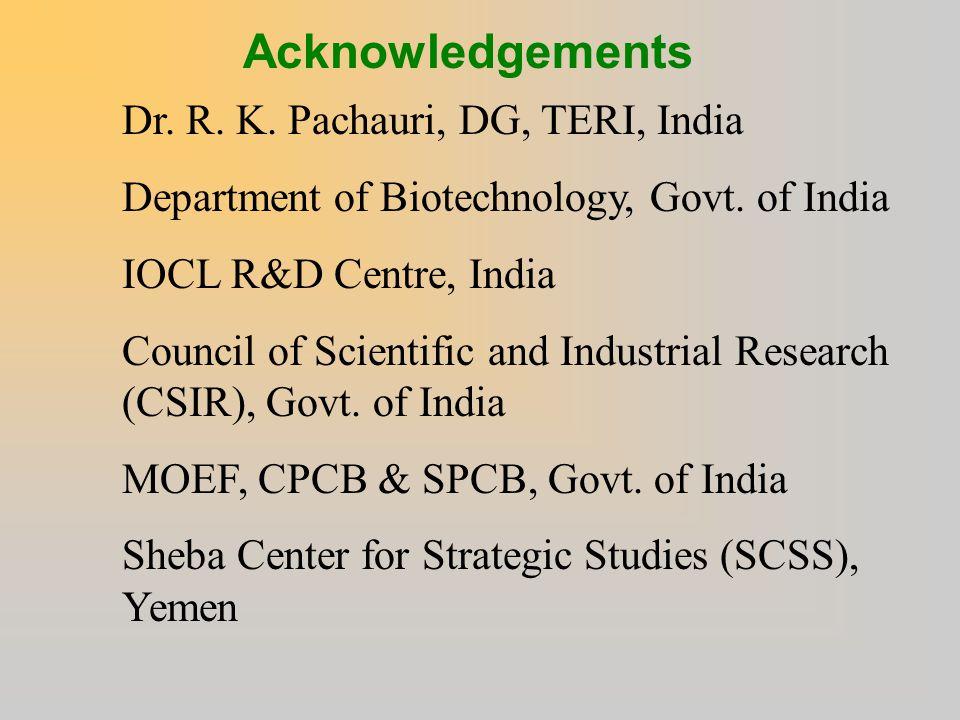 Acknowledgements Dr. R. K. Pachauri, DG, TERI, India