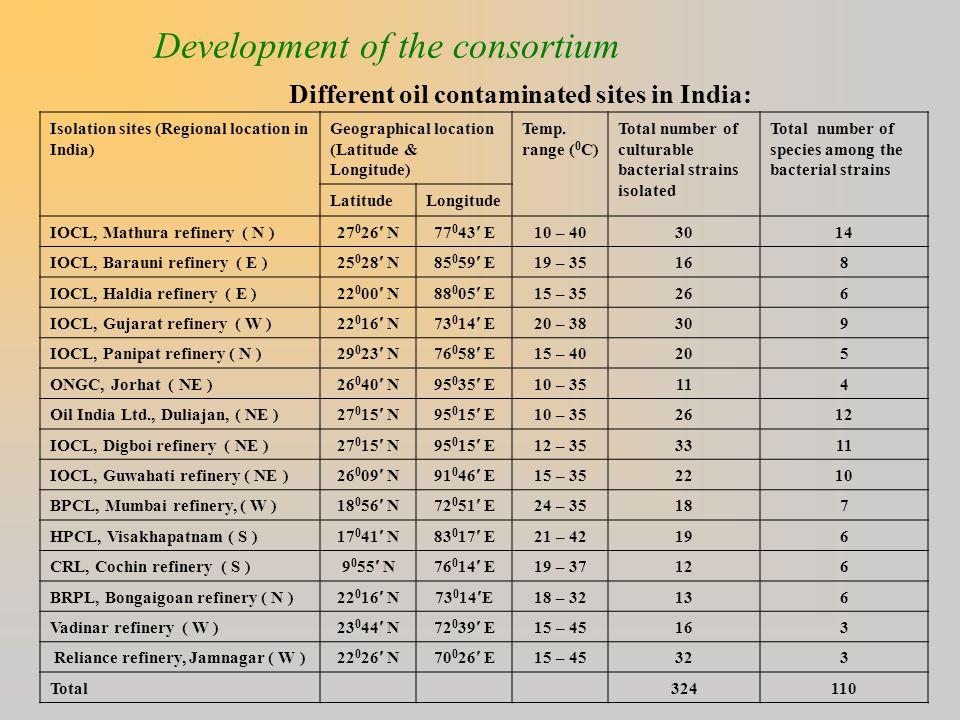 Development of the consortium