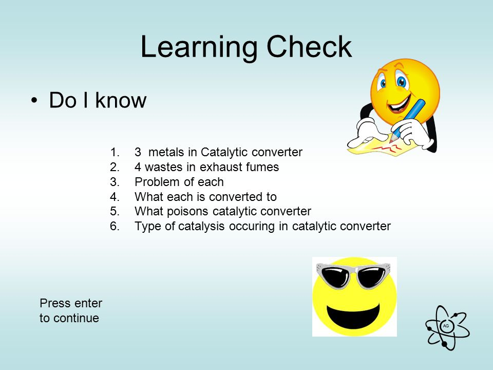 Learning Check Do I know 3 metals in Catalytic converter