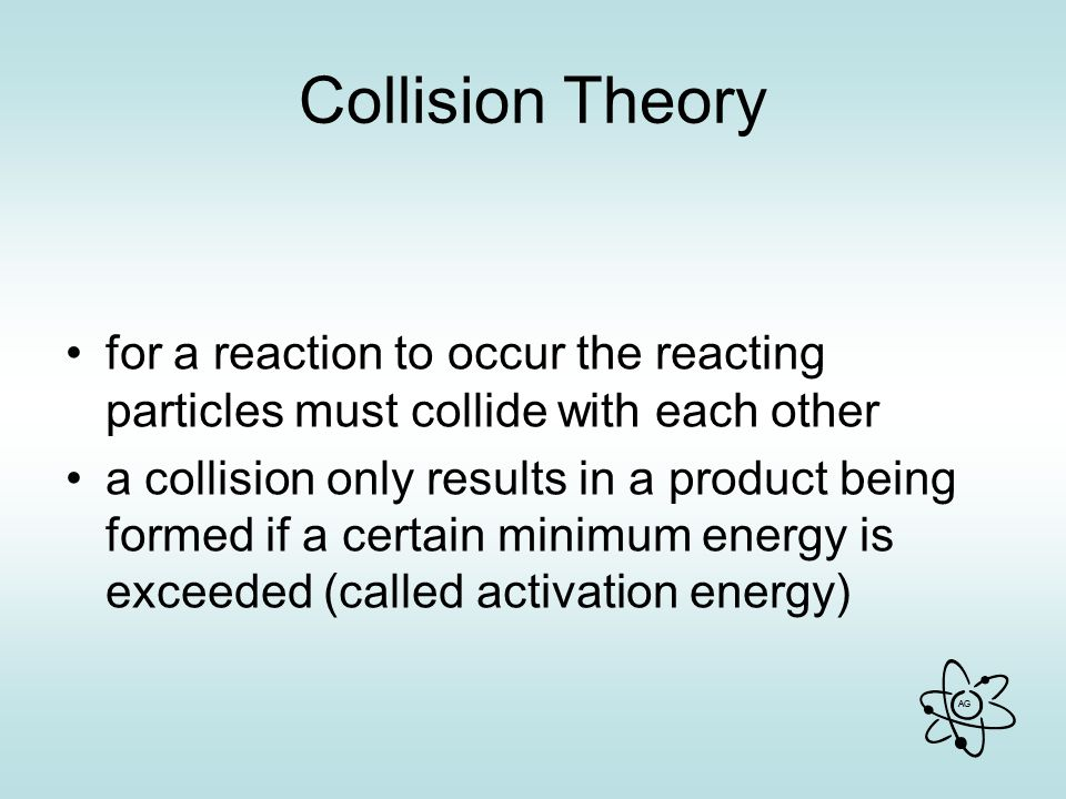 Collision Theory for a reaction to occur the reacting particles must collide with each other.
