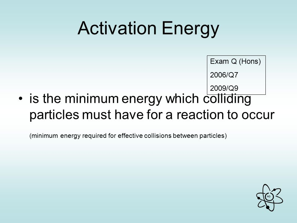 Activation Energy is the minimum energy which colliding particles must have for a reaction to occur.
