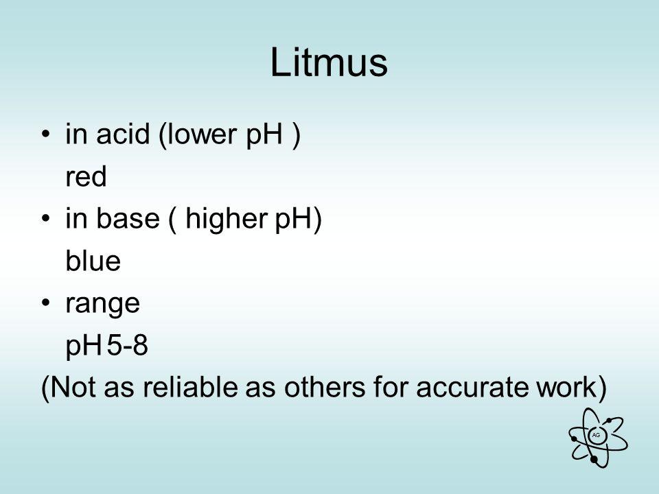 Litmus in acid (lower pH ) red in base ( higher pH) blue range pH 5-8