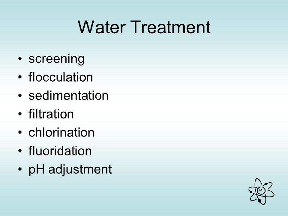 Water Treatment screening flocculation sedimentation filtration