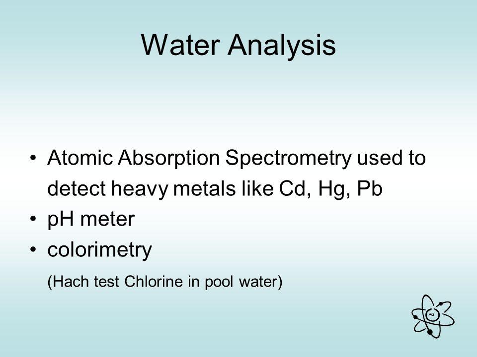 Water Analysis Atomic Absorption Spectrometry used to
