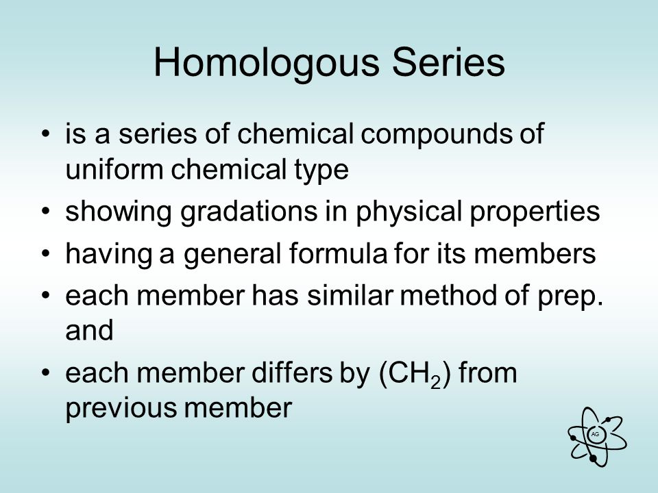 Homologous Series is a series of chemical compounds of uniform chemical type. showing gradations in physical properties.