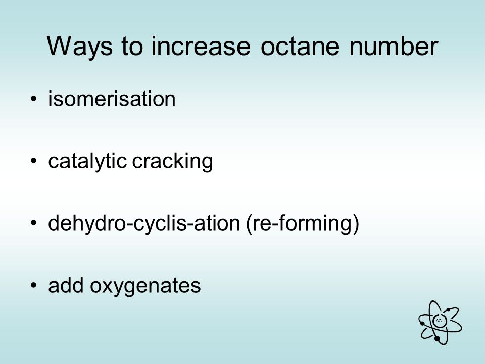 Ways to increase octane number