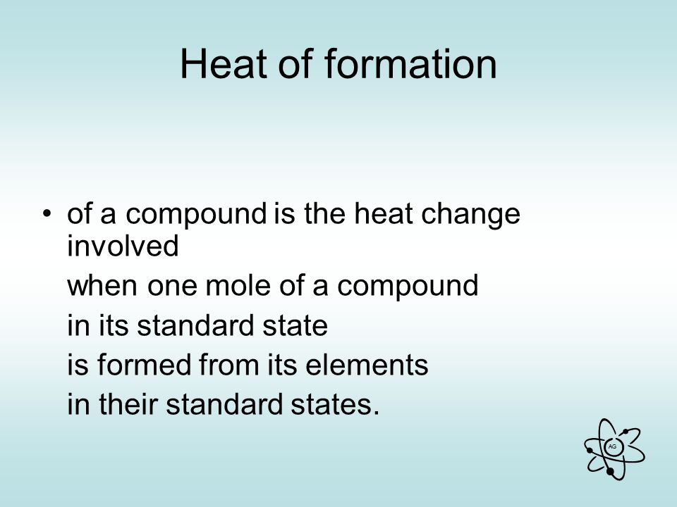 Heat of formation of a compound is the heat change involved