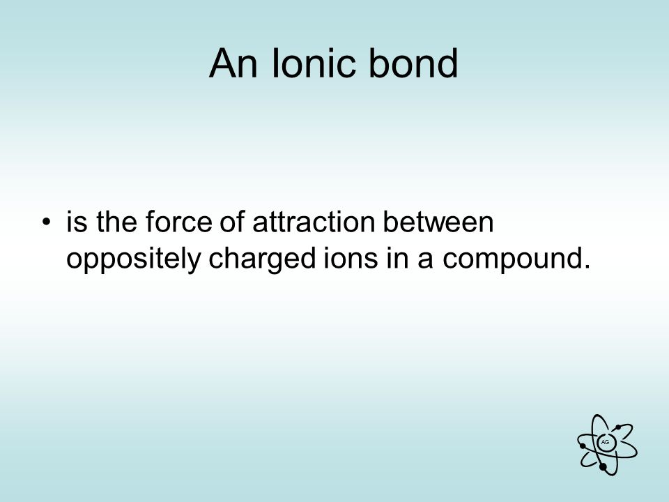 An Ionic bond is the force of attraction between oppositely charged ions in a compound.